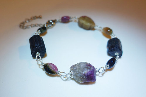 Handmade Tourmaline Rough and Tumbled Stone Bracelet