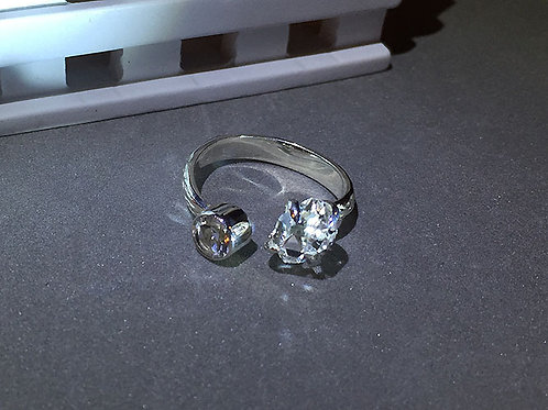 赫基蒙鑽石/閃靈鑽開口銀戒指(9號)