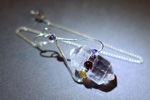 雙頭白水晶配七輪晶石靈擺