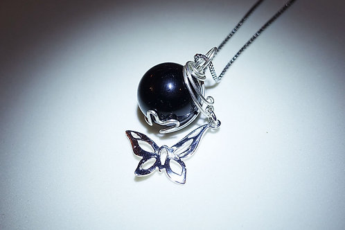 Handmade Black Tourmaline Necklace with Silver Butterfly Charm