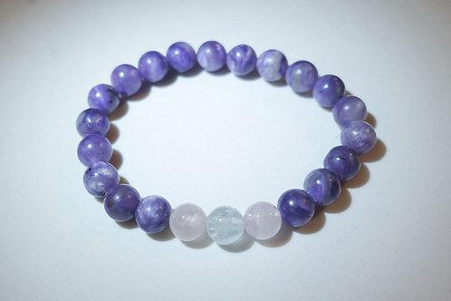 紫龍晶海藍寶摩根石手串