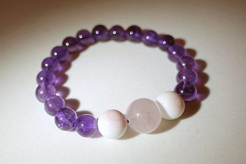 紫晶粉晶貝殼手串