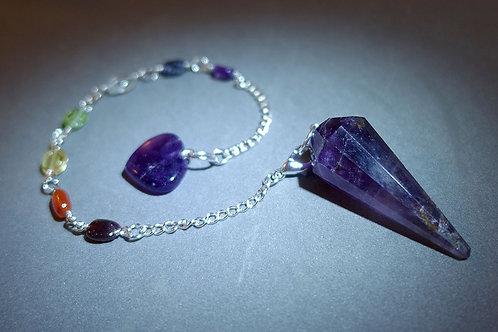 紫晶(錐形)七輪靈擺/手鍊