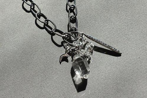 赫基蒙鑽石(閃靈鑽)尖晶石吊墜配銀頸鏈