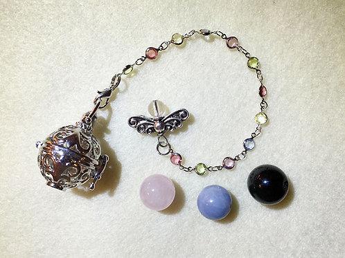 黑曜石、粉晶、天使石靈擺及吊墜套裝