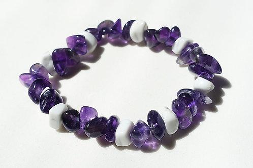 紫水晶白紋石碎石手鍊