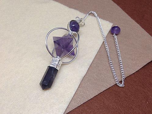 梅爾卡巴晶石靈擺-紫水晶