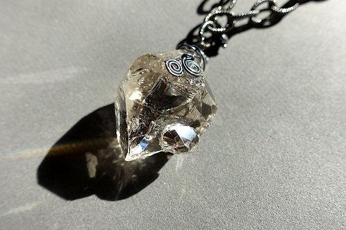 赫基蒙鑽石(閃靈鑽)吊墜配火山石及銀頸鏈