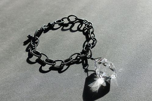 赫基蒙鑽石(閃靈鑽)配火山石銀手鏈#1