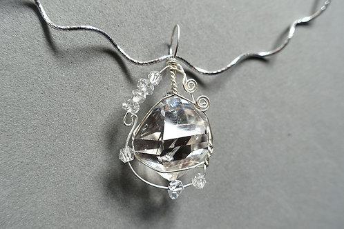 赫基蒙鑽石(閃靈鑽)手作吊墜配銀頸鏈