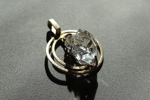 赫基蒙鑽石(閃靈鑽)純銀鍍金吊墜