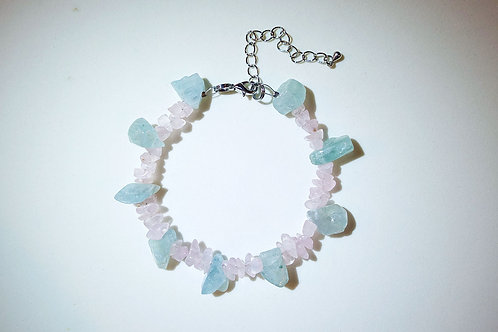 Aquamarine Rose Quartz Bracelet