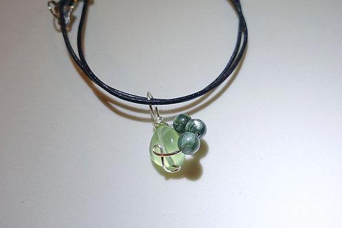 葡萄石綠龍晶皮頸繩