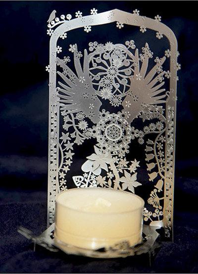 守護天使不銹鋼燭台 - 銀色