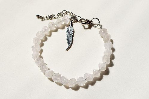 粉晶手鏈配天使羽毛銀吊飾