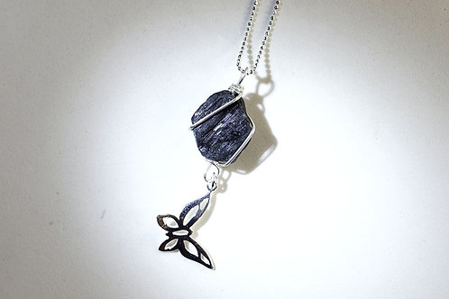 Handmade Black Tourmaline Rough Necklace with Silver Butterfly Charm