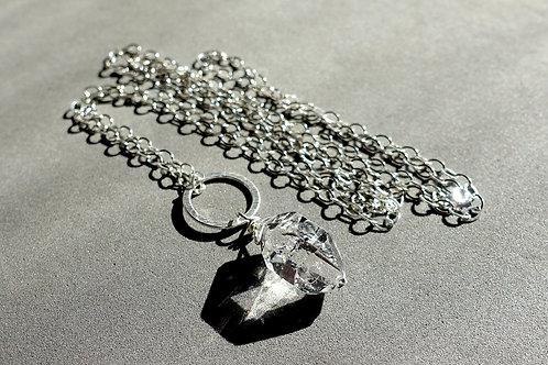 赫基蒙鑽石(閃靈鑽)吊墜配銀頸鏈