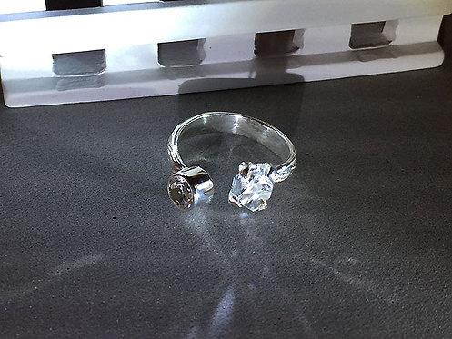 赫基蒙鑽石/閃靈鑽開口銀戒指(7號)