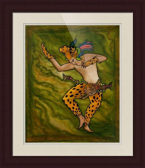 Jaguar Shaman silk painting by Savanna R