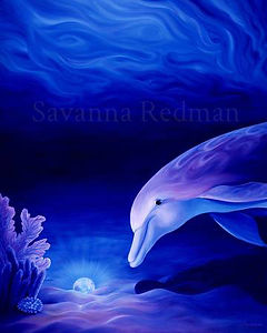 Dolphin Oil Painting 'Guardian of Resting Souls'