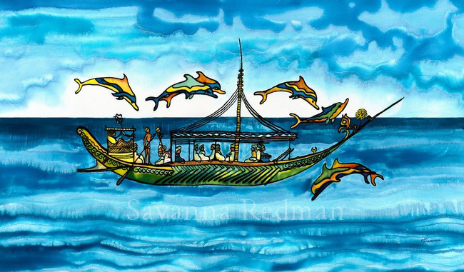 Greek Merchant Ship and Dolphins