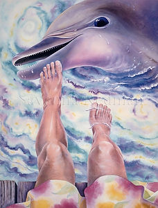 Dolphin Watercolor 'Caribbean Morning'