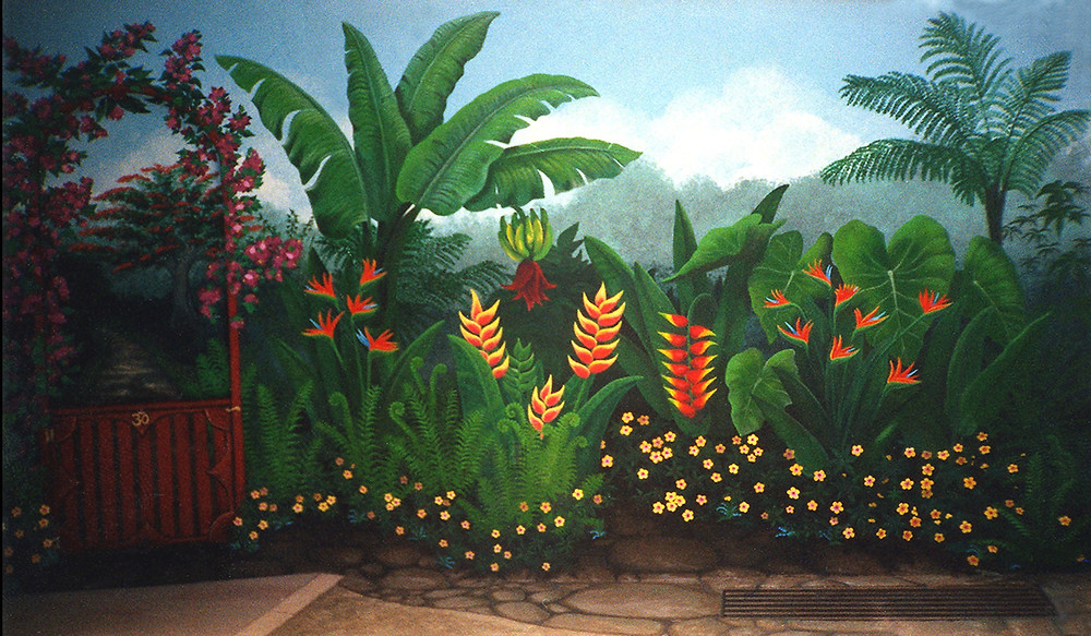 A garden mural painted in St. Thomas USVI by Savanna Redman