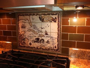 'Islands of the Bahamas and West Indies'  Custom Tile Mural  Backsplash