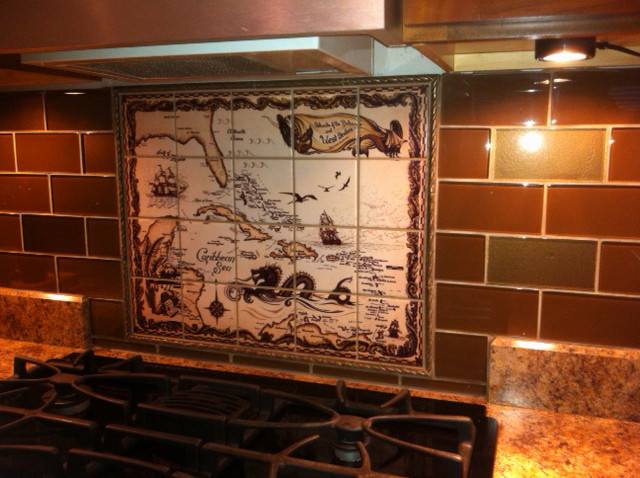 Custom Ceramic Tile Backsplash installed. Islands of the Bahamas and West Indies.