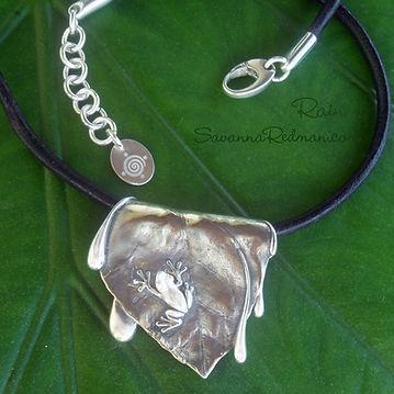 Rain: sterling silver tree frog pendant