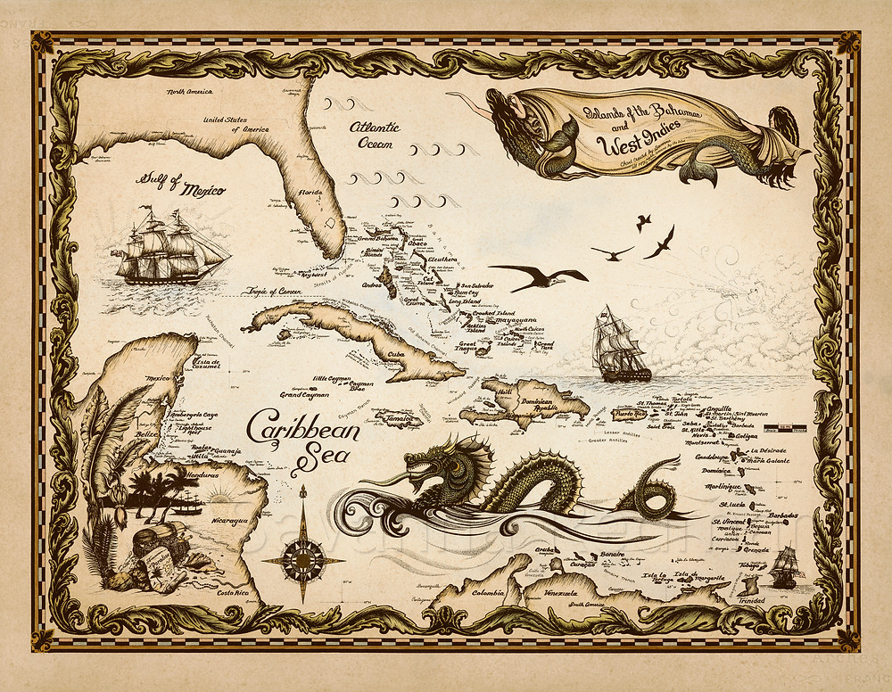 Old world style map of the Bahamas and Caribbean islands, hand-drawn by Savanna Redman, custom orders of fine art giclée prints available signed and personalized.
