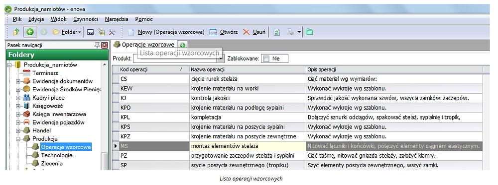 Lista operacji wzorcowych enova365