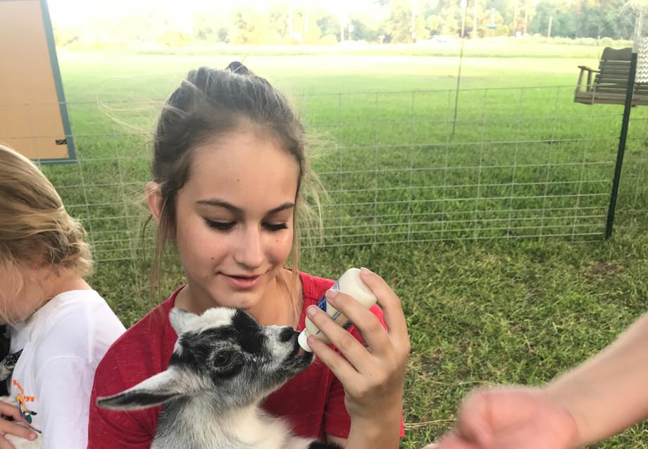 Goat Yoga girld feeding baby goat