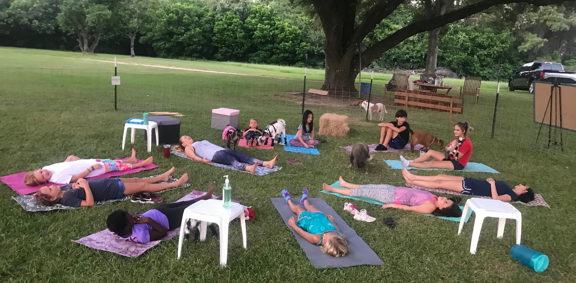 Birthday Party Goar Yoga Shavasana