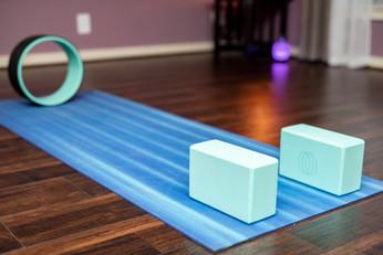 My yoga Mat, yoga blocks and yoga wheel