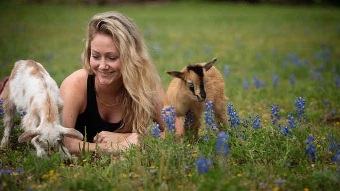 Goat Yoga Houston snuggle