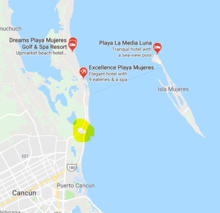 Playa Mujers Map - Security check Points