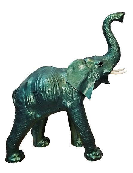 METALLIC GREEN Leather Elephant Standing