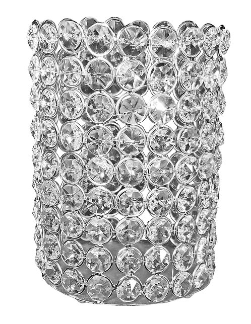 "Oval 6.5"" Crystal Candle Holder"