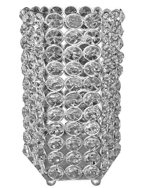 """Hexagon 8"""" Crystal Candle Holder"""