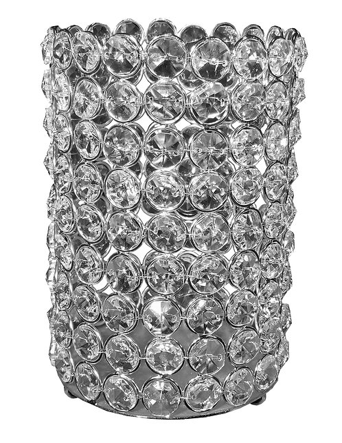 """Round 6.5"""" Crystal Candle Holder"""