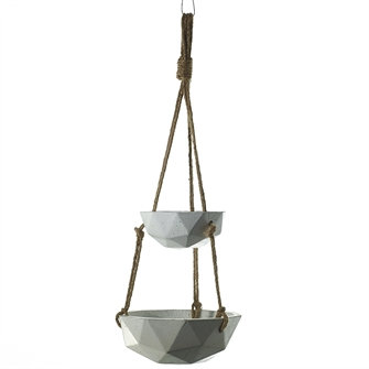 Light Concrete Hanging Rope Vase