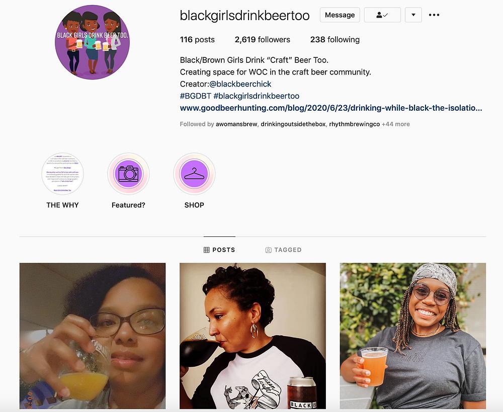 Black girls being beer too Instagram