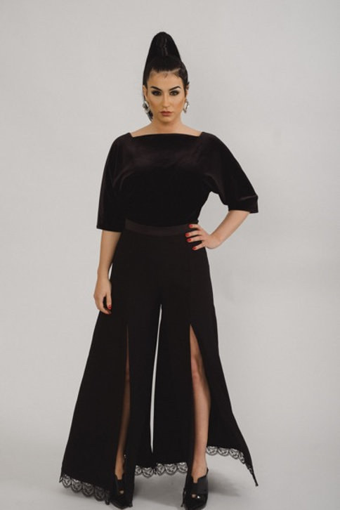 Wide Leg Trousers With Thigh High Splits And Lace Trim