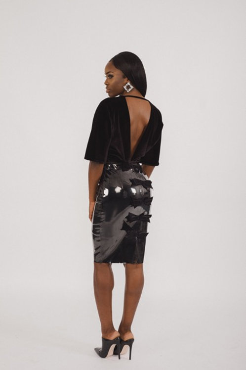 Shiny PU Pencil Skirt With Velvet Bows