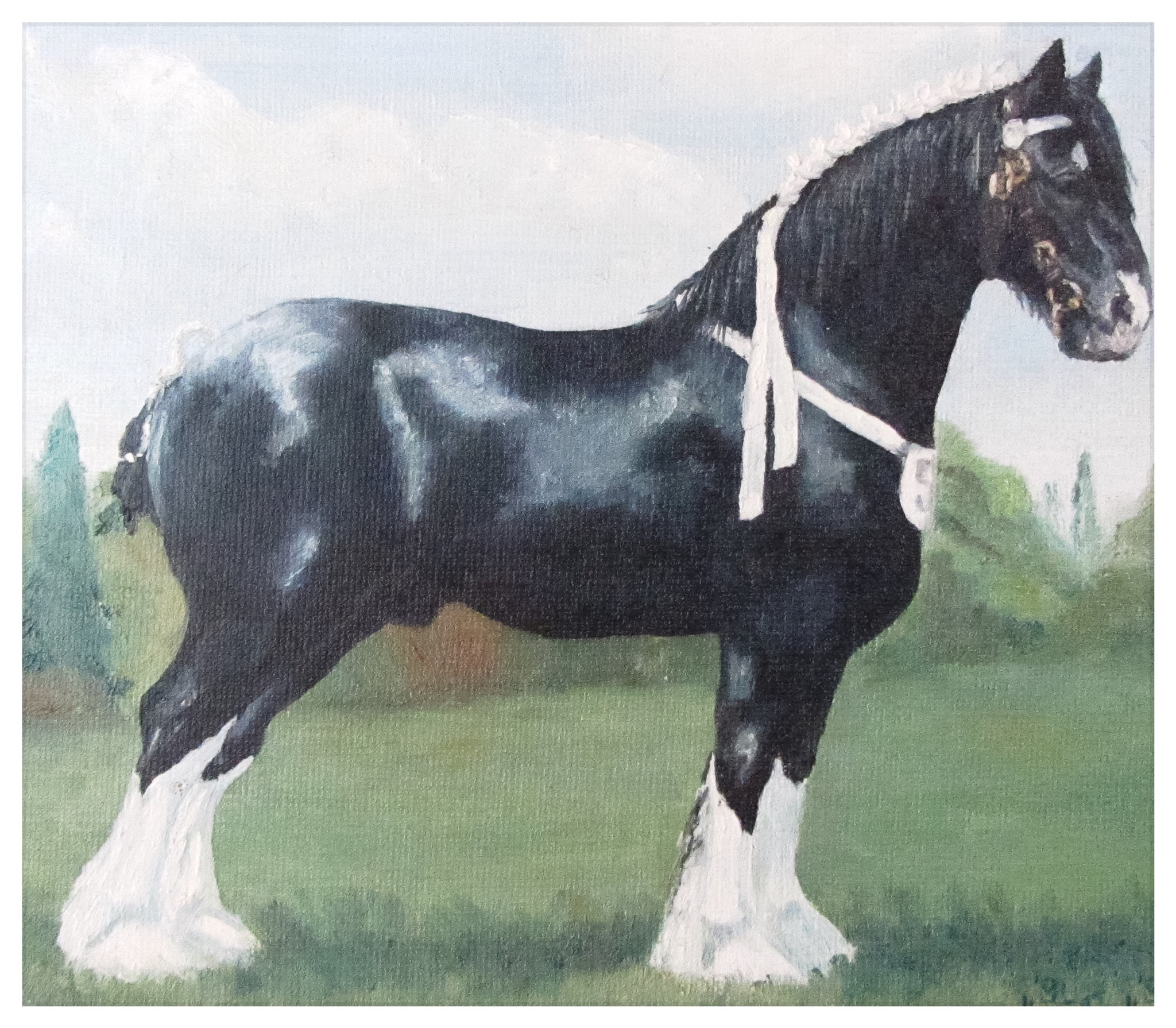 Kate Gabriel shire horse pet portrait painting