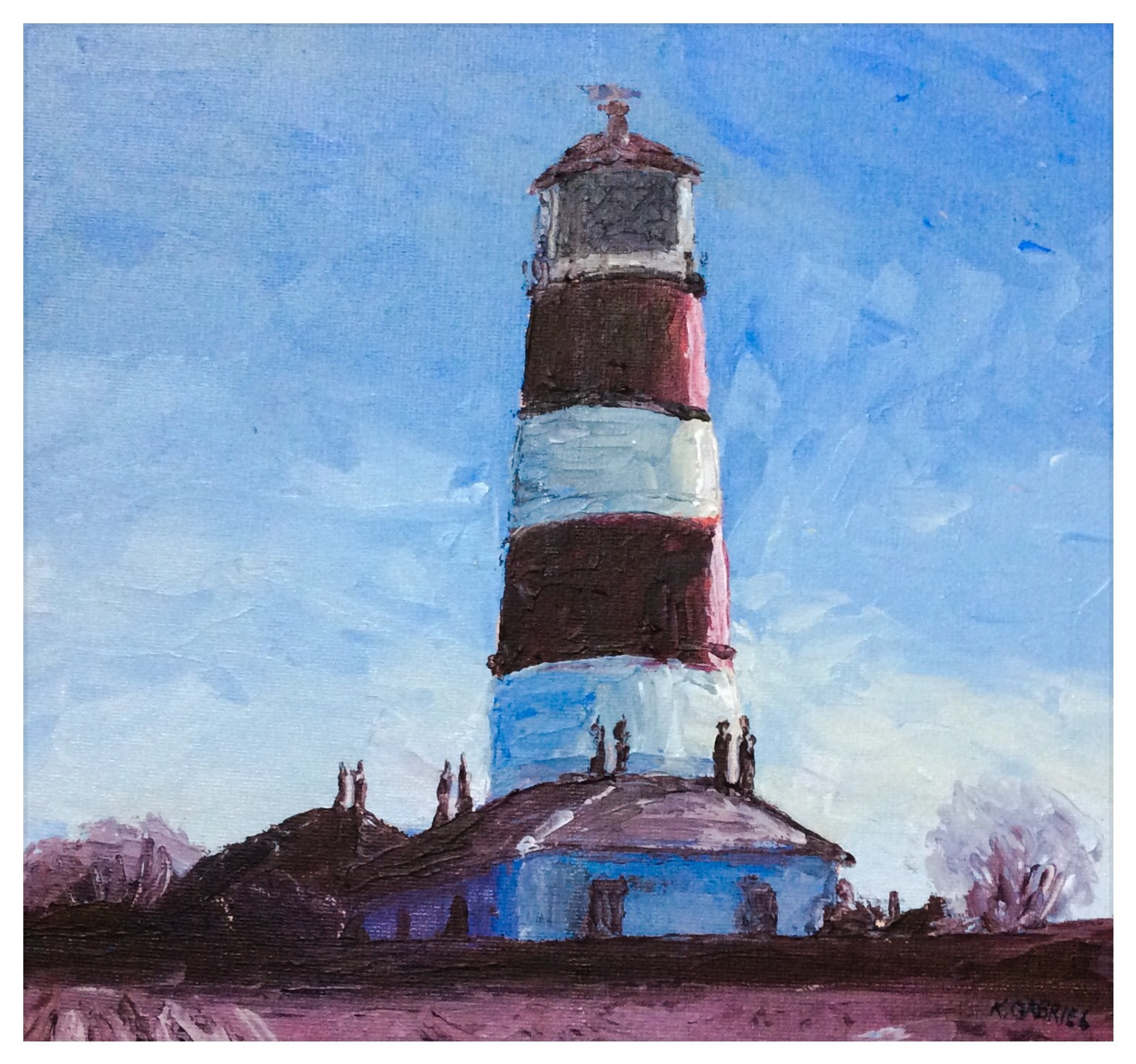 Kate Gabriel landscape Happisburgh lighthouse painting