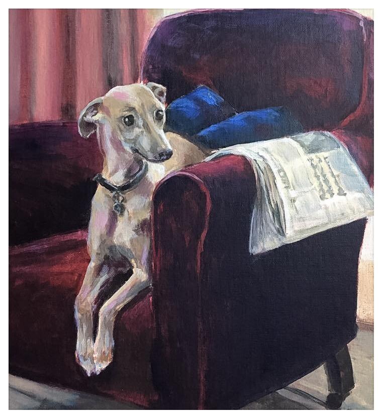 Kate Gabriel whippet dog pet portrait painting