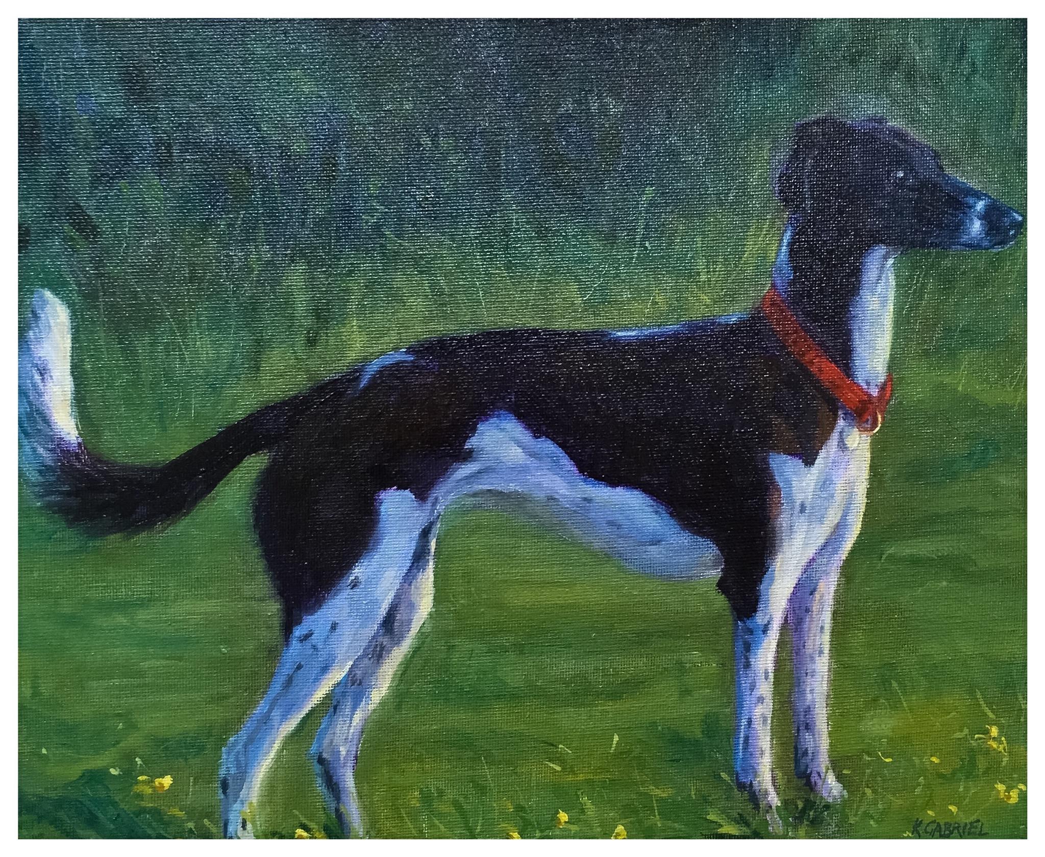 Kate Gabriel dog lurcher pet portrait painting