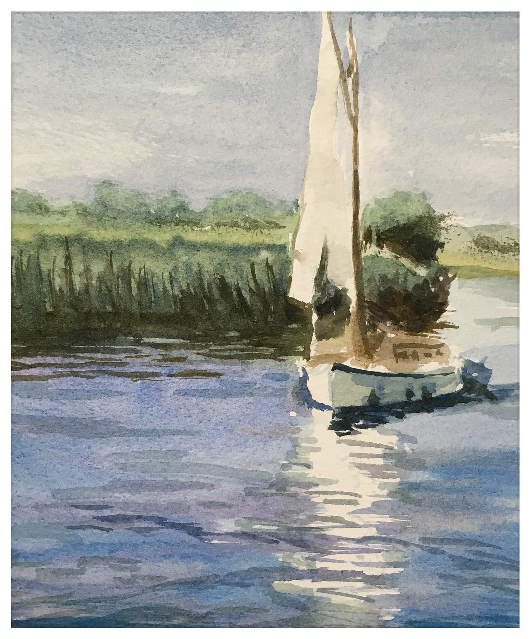 Kate Gabriel Norfolk Broads boat sailing painting watercolour